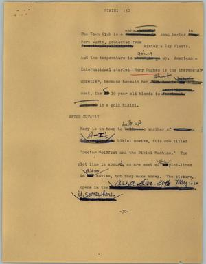 Primary view of object titled '[News Script: Bikini]'.