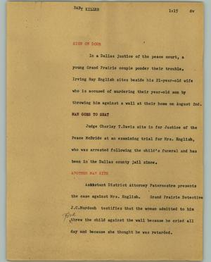 Primary view of object titled '[News Script: Baby killer]'.