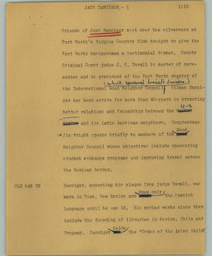 Primary view of object titled '[News Script: Jack Danciger]'.