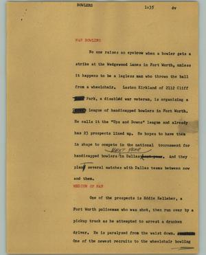 Primary view of object titled '[News Script: Bowlers]'.