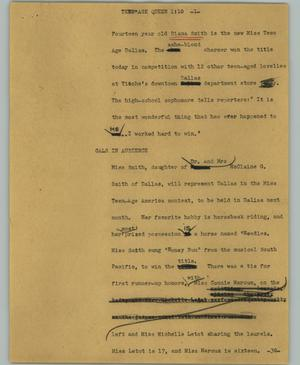 Primary view of object titled '[News Script: Teen age queen]'.