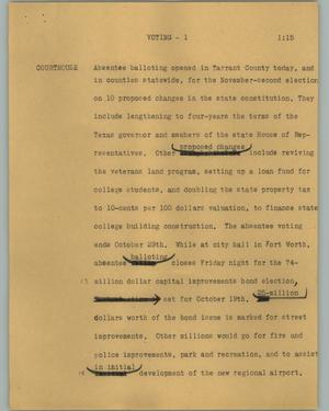 Primary view of object titled '[News Script: Voting]'.