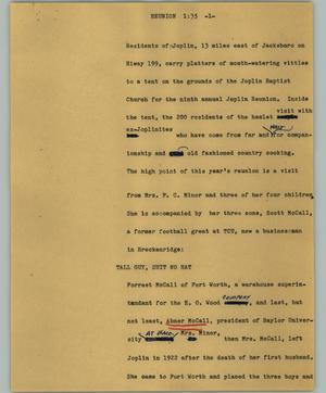 Primary view of object titled '[News Script: Reunion]'.