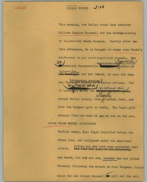 Primary view of object titled '[News Script: Kidnap murder]'.