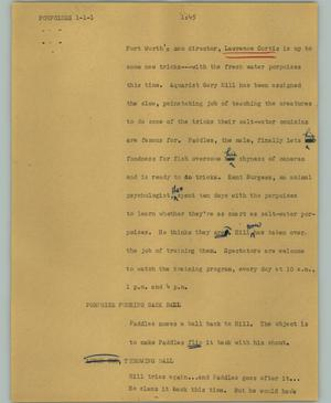Primary view of object titled '[News Script: Porpoises]'.
