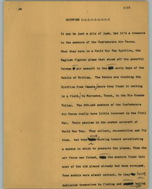 Primary view of object titled '[News Script: Spitfire]'.