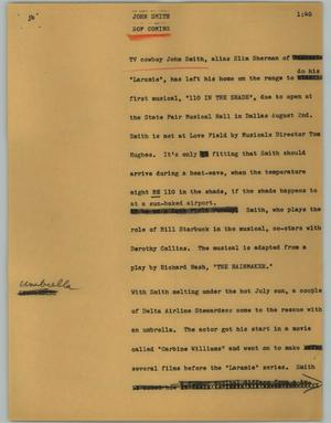 Primary view of object titled '[News Script: John Smith]'.