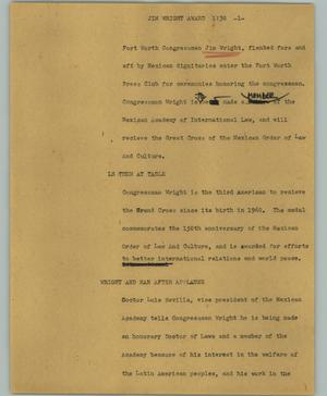 Primary view of object titled '[News Script: Jim Wright Award]'.