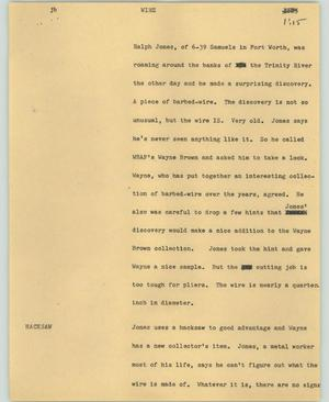 Primary view of object titled '[News Script: Wire]'.