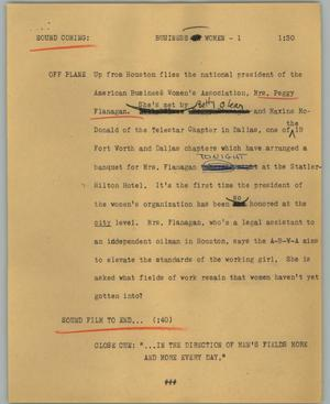Primary view of object titled '[News Script: Business women]'.
