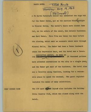 Primary view of object titled '[News Script: Baker hotel]'.