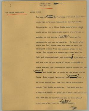 Primary view of object titled '[News Script: Stock yards]'.