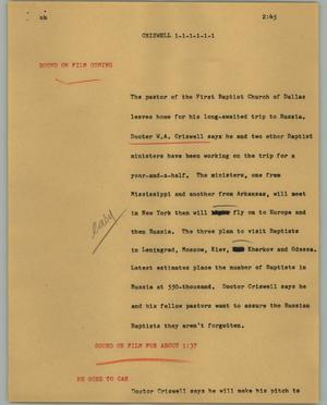 Primary view of object titled '[News Script: Criswell]'.