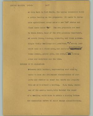 Primary view of object titled '[News Script: Zoning hearing]'.