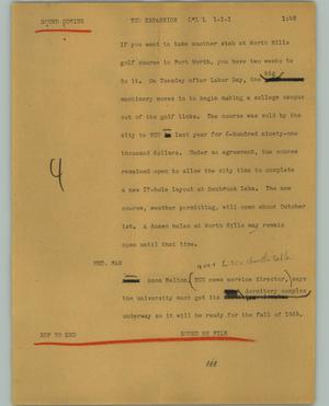 Primary view of object titled '[News Script: TCU Expansion]'.