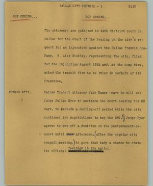 Primary view of object titled '[News Script: Dallas city council]'.