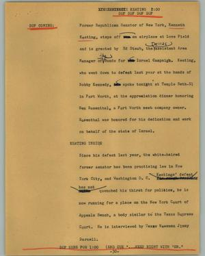 Primary view of object titled '[News Script: Keating]'.