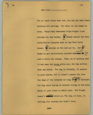 Primary view of object titled '[News Script: Dog vigil]'.