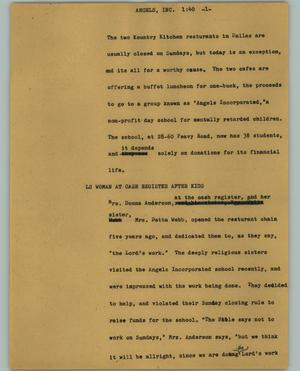 Primary view of object titled '[News Script: Angels inc.]'.
