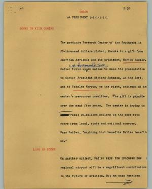 Primary view of object titled '[News Script: AA President]'.