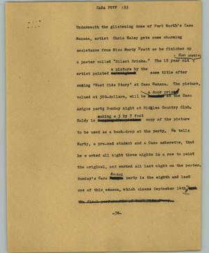 Primary view of object titled '[News Script: Casa Puff]'.