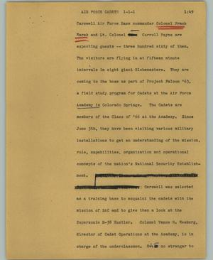 Primary view of object titled '[News Script: Air Force cadets]'.