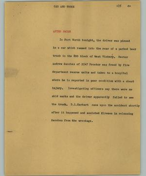 Primary view of object titled '[News Script: Car and truck]'.