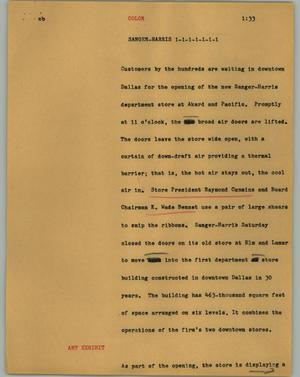 Primary view of object titled '[News Script: Sanger-Harris]'.