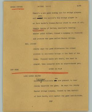 Primary view of object titled '[News Script: Bridge]'.