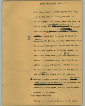 Primary view of object titled '[News Script: Grand jury report]'.