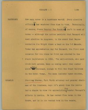 Primary view of object titled '[News Script: Kennard]'.