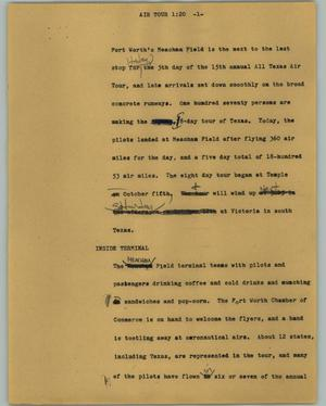 Primary view of object titled '[News Script: Air tour]'.