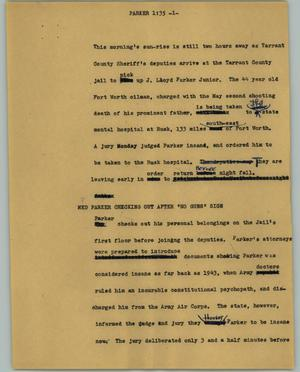 Primary view of object titled '[News Script: Parker]'.