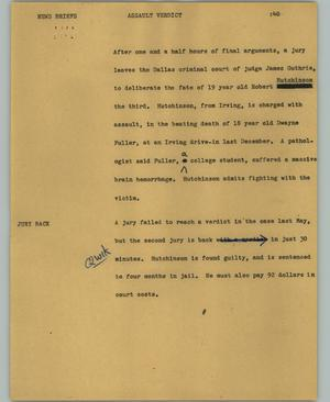 Primary view of object titled '[News Script: Assault verdict]'.