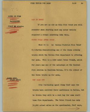 Primary view of object titled '[News Script: Fire trucks for sale]'.