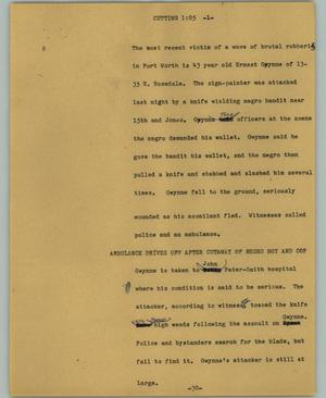Primary view of object titled '[News Script: Cutting]'.