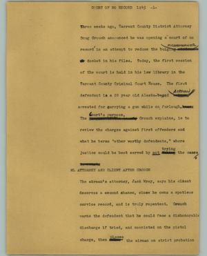 Primary view of object titled '[News Script: Court of no record]'.