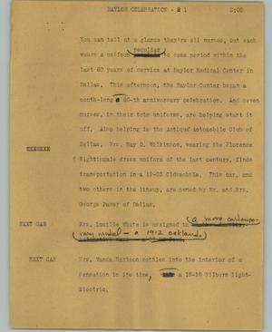 Primary view of object titled '[News Script: Baylor celebration]'.