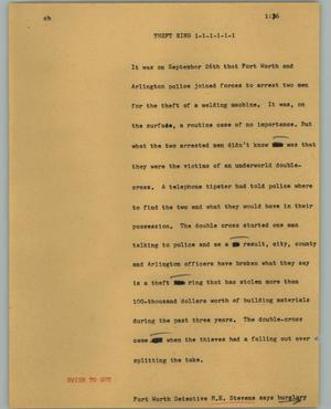 Primary view of object titled '[News Script: Theft ring]'.