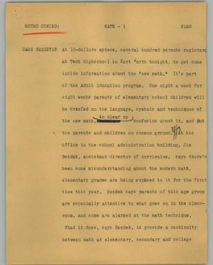 Primary view of object titled '[News Script: Math]'.