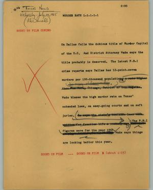 Primary view of object titled '[News Script: Murder rate]'.