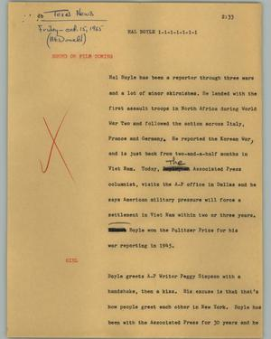 Primary view of object titled '[News Script: Hal Boyle]'.