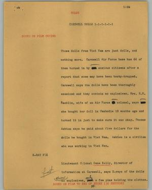 Primary view of object titled '[News Script: Carswell dolls]'.