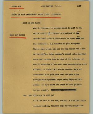 Primary view of object titled '[News Script: Golf meeting]'.