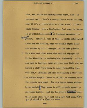 Primary view of object titled '[News Script: Land on highway]'.