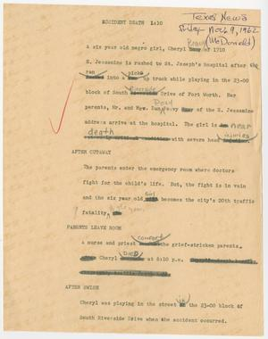Primary view of object titled '[News Script: Accident death]'.