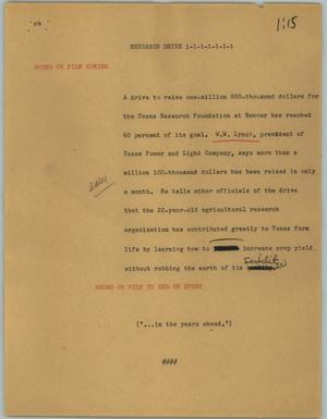 Primary view of object titled '[News Script: Research drive]'.
