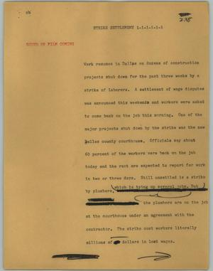 Primary view of object titled '[News Script: Strike settlement]'.