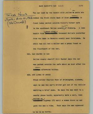 Primary view of object titled '[News Script: Bank bandit's car]'.