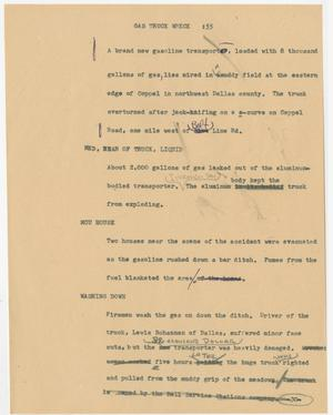 Primary view of object titled '[News Script: Gas truck wreck]'.